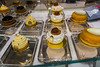 Paris, France, Close up, Detail, French Pastries Cakes on Display in Laduree Bakery Shop, Printemps Department Store,