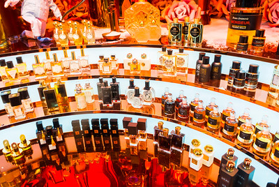 Paris, France, French Perfume Bottles on Display in Window, Christmas SHopping, Printemps Department Store,