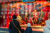 Paris, France, People Enjoying Christmas Lights, Window SHopping, Printemps Department Store,