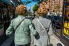 Paris, France, French Senior women walking away form rear with similar Hair cuts