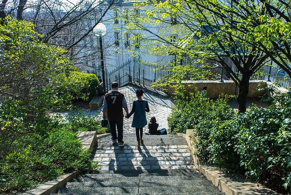 Paris, France. People in Belleville Park Scenes, Springtime