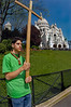 PARIS, France - Public Events, Catholic Church, Good Friday Ceremony, Le Chemin de la Croix, Easter Weekend, in Montmartre, near Sacre Coeur Church, with French Boy Scout Troop, Holding Large Wooden Cross Outside