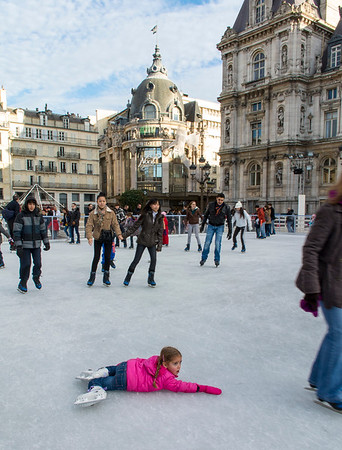 Paris, France, Street Scenes, People Ice Skating on Skating Ring at City Hall,