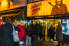 Paris, France, Street Scenes, people Lining UP, Queuing, Outside French Independent Cinema, Movie Theatre, in Latin Quarter, Saint Germain-des-Prés, at Night