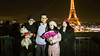 Paris, France, Chinese Tourists Posing For Photo with Eiffel Tower at Night