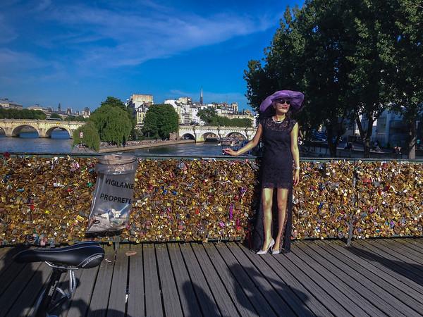 Paris, France, Tourists on Seine River Bridge, Pont des Arts with Love Locks