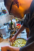 Paris, France, Young Chinese MAn Cooking French Apple Pie at Home