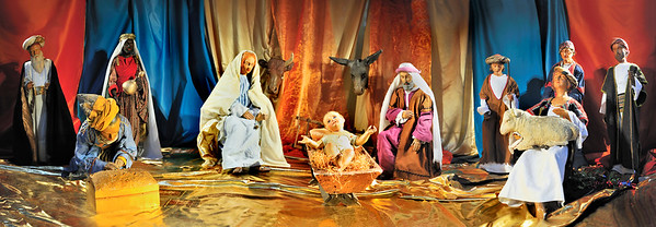 Paris, France-  Panoramic Image, Christmas Creche, in French Catholic Church, Eglise Saint Sulpice, Religious Figurines, Jesus Christ, Mary, Joseph