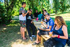 Bobigny, France, French People Picnic in Park near L'Ourcq Canal, AIDES Militants