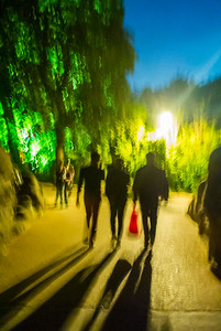 Paris, France, French People in Public Park at Night, Buttes Chaumont