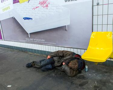 Paris, France, Poor, Homeless Men Sleeping on Sidewalk