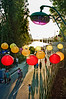 Paris, France, Public Events, Paris Plage, French Promenading on urban Beach in City Center, Along Seine River. Chinese Lanterns Lights Decorations