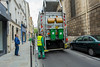 Paris, France,  Marais Area, Street Scene , Glass Recycling Truck Pick up on Sidewalk