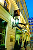 Paris, France, Interior-  Contemporary Luxury Hotel , Exterior, Renaissance Paris Vendome, 5 Stars, Front Entrance with Taxi on Street at Night. (Credit Architect: R. Ichbiah)