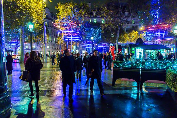 Paris, France, Christmas Lighting Decorations on Avenue Champs-Elysees, 2013