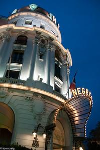 Nice, France - Front Entrance, Luxury Hotel, Hotel Negresco, Lit up at Night, Promenade des Anglais