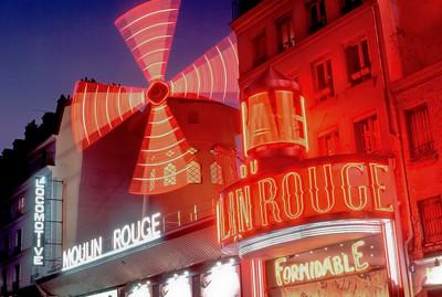 Paris, France, Montmartre Theatre LE MOULIN ROUGE CABARET, Night.
