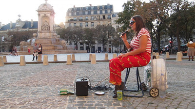 paris, France, Edith Piaf Interpretor, Singing Songs on Place Saint Sulpice, Blind Woman,