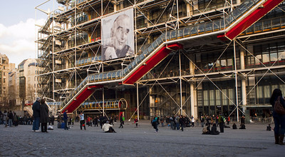 Paris, France, Outside George Pompidou Center, Modern Art Museum, Front Plaza, Time Lapse Film Clip