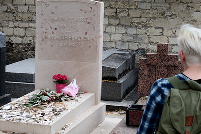Grave of Jean-Paul Sartre and Simone de Beauvoir, Montparnasse Cemetery, Paris