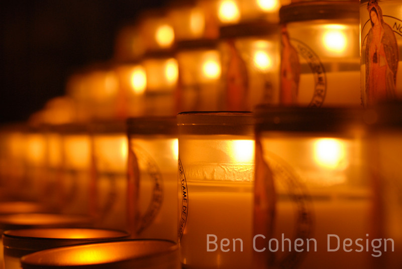 Votive candles in Notre Dame.