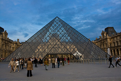 the Louvre in the evening