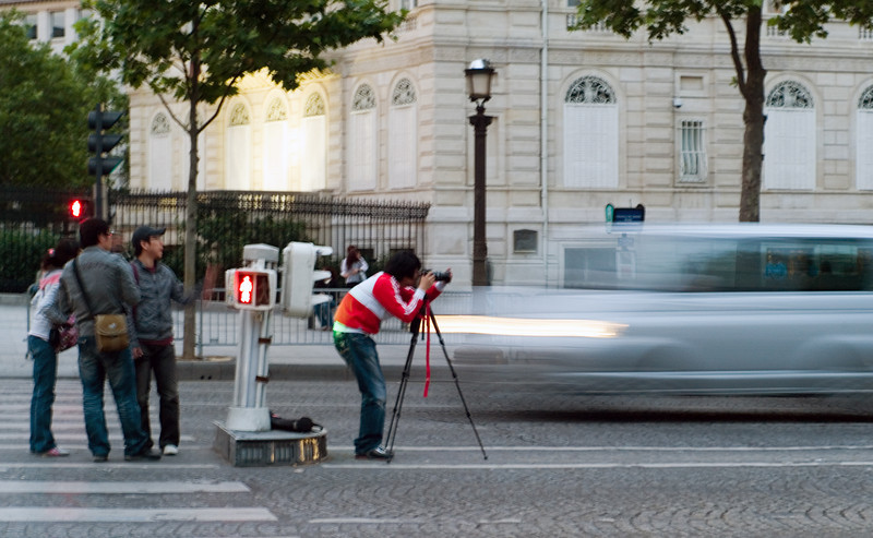 Taking the risk to get the shot on the busiest corner in Paris.