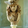Musee Rodin, terra cotta bust of girl with hat with roses