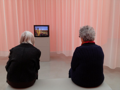 "Women viewing the current (and only work) at Musee d""art Moderne"