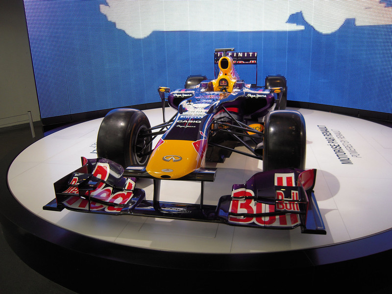 Red Bull F1 racer at the Renault dealer on the Champs Elysse
