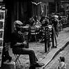 Child and accordion player, Paris.
