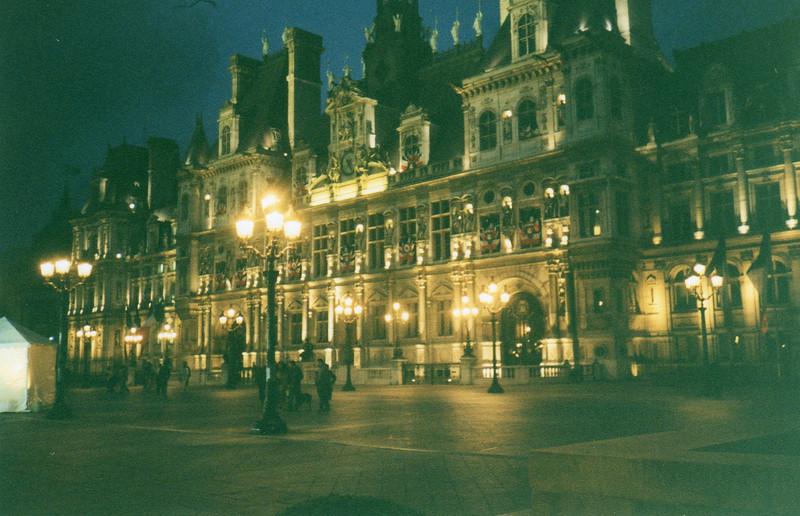 Hotel de Ville (City Hall) at night! Beautiful at night!