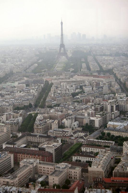 View of Paris with the Eiffel Tower in the distance.