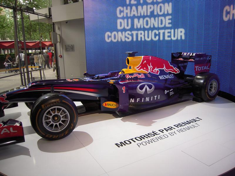 Red Bull F1 racer at the Renault dealer on the Champs Elysse