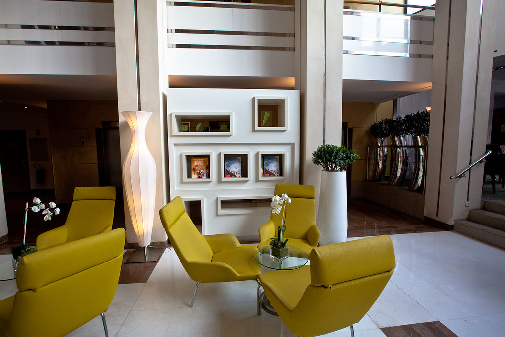 The Lobby of our hotel in Paris, the Novotel.
