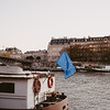 boat on the river seine in paris with the EU Flag