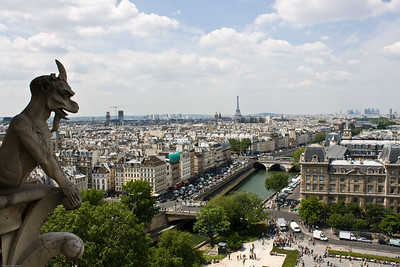 Gargoyles looking down at Paris