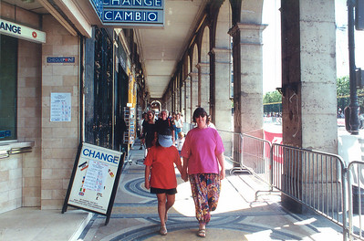 Gill and Lan along rue de Rivoli colonade Paris France - Jul 1996