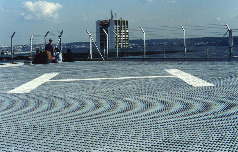 The helicopter pad atop the Grande Arche de la Defense