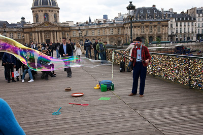 Clown Making Giant Bubbles on the Pont Des Arts in Paris