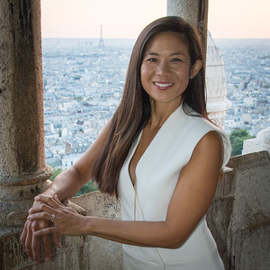 Photo shoot from Sacre-Coeur with a view of the Eiffel Tower in the background.