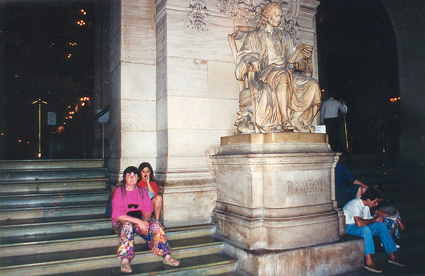 Gill and Lan beside the statue of Rameau Paris Opera France - Jul 1996