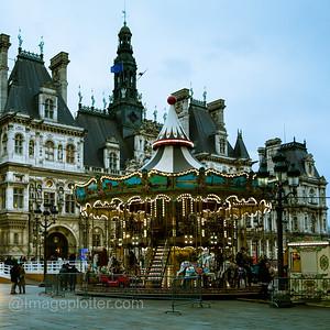 Merry go Round at Place de l'Hôtel-de-Ville (City Hall), Paris