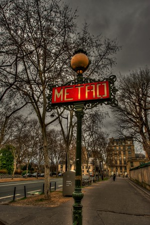 A Metro sign in Paris, France
