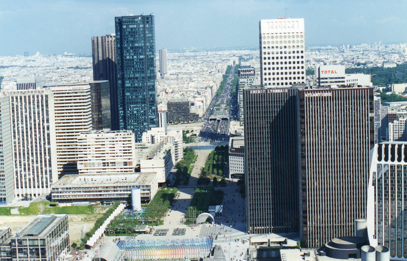 Av de la Grande Armee to the Arc de Triomphe from atop the Grande Arche de la Defense