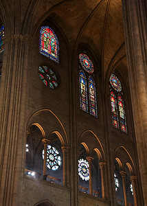 Upper Levels of Notre Dame Cathedral's stained glass windows.