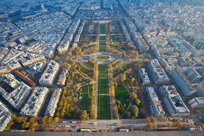 An almost straight down view of paris.