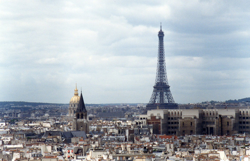 Gold dome of Les Invalides and the Eiffel Tower from atop Notre Dame.