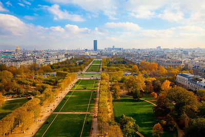Eastward view of Paris from the Eiffel Tower.