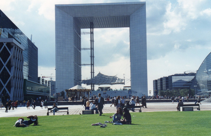 Tower at La Defense. The Arc de Triomphe would fit inside this huge arch! The 2 center verticle things are elevators. The rooftop offers some great views of Paris!